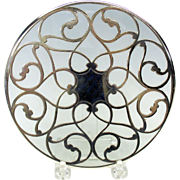Fancy antique silver overlay glass trivet 6""