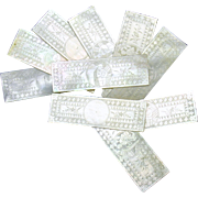 Set 10 Chinese engraved oblong Mother of Pearl game chips 1800's #1