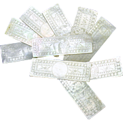 Set 10 Chinese engraved oblong Mother of Pearl game chips 1800's #3