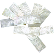 Set 10 Chinese engraved oblong Mother of Pearl game chips 1800's #4