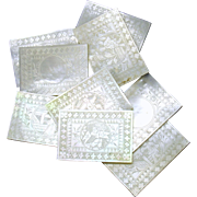 Set 10 Chinese engraved square Mother of Pearl game chips 1800's