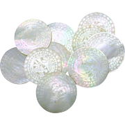 Set 10 Chinese engraved circular Mother of Pearl game chips 1800's #3
