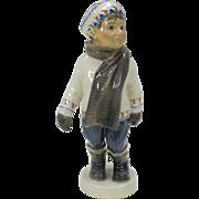 Dahl Jensen porcelain figure Winter boy in mittens, hat and scarf