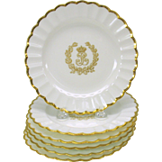 Set of 6 Sevres porcelain gilded Napoleonic plates 5.75 inches