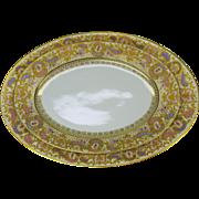 2 Ernst Wahliss Wien Austria fine porcelain pink/purple paste gold serving platters  1920's