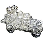 American Brilliant Period cut glass automobile motor car condiment cruet set