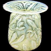 Antique Art Nouveau fine floral vaseline glass vase Stevens & Williams