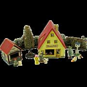 Antique German Erzgebirge wooden toy set Flower Hall and Flower stand
