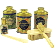 Set Art Deco miniature talc tins, perfume and brushes for a doll