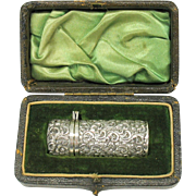 Victorian sterling silver repousse perfume bottle in original fitted box