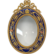 Antique French bronze and enamel miniature portrait frame