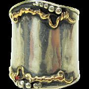 Signed vintage designer sterling silver and gold ring size 8