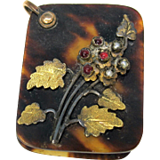 Miniature or dolls Aide de memoire with an applied jeweled flower