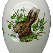 Large Herend egg shaped porcelain dresser box with Rabbit portrait  6051