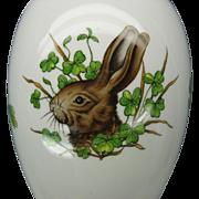 Large Herend egg shaped porcelain dresser box with Rabbit portrait  6051
