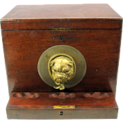 Victorian gambling game box 3D glass eyed bronze Pug dog head with whip