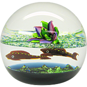 """Vintage Caithness Scotland """"Pond Life"""" glass paperweight 88/100"""