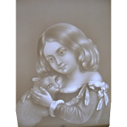 19th Century cast iron lithopane porcelain table top face screen Girl with Cat