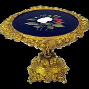 "Antique Erhard Sohne ormolu and pietra dura miniature center table 4 1/8"" tall"