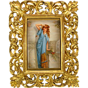 Victorian hand painted porcelain portrait plaque of Lady in gilded wood frame