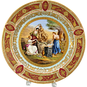 """Royal Vienna hand painted porcelain charger wall plate 14"""" Antique"""