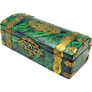 Early Victorian faux Malacite stone painted brass bound glove box