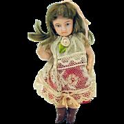 "5"" Antique French bisque SFBJ Unis miniature doll"