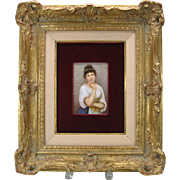 Fine Victorian hand painted porcelain portrait plaque Lovely Lady