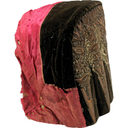 Antique Ladies velvet, silk and metallic thread embroidered bonnet or hat for coiffe