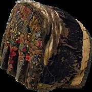 Antique dark velvet metallic thread embroidered early hat or coiffe bonnet