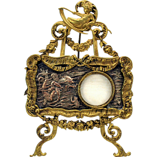 Victorian table top photo frame painting on easel with Mer people and fish