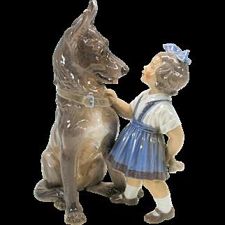Big Dahl Jensen Copenhagen porcelain figure girl with Alsatian Shepherd puppy and bone