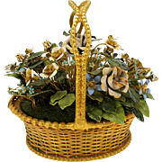 Large vintage Jane Hutcheson for Gorham enameled flowers in gilded basket