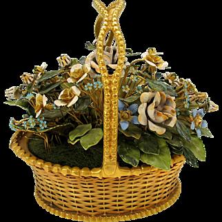 Large vintage Jane Hutcheson for Gorham enameled flowers in gilded basket