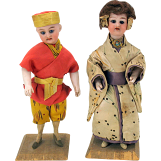"""Pair antique German bisque head and arms candy containers Japanese girl and Chinese boy 8"""""""
