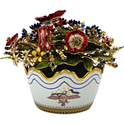 Vintage Mottahedeh porcelain patriotic enameled flowers centerpiece American eagle