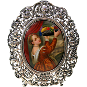 Victorian hand painted porcelain portrait plaque of Lady in silver cherub frame
