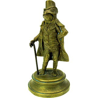 Victorian cabinet bronze of a Frog dressed as a gentleman with top hat & cane