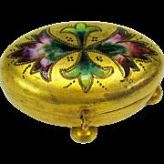 Victorian miniature enameled gilded bronze dresser casket box ring box