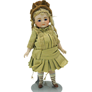 "S & H  7"" closed mouth all bisque doll for French market swivel neck great outfit"