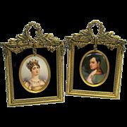 Pair hand painted Historical porcelain portrait plaques Napoleon & Josephine in bronze frames