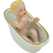 Victorian German bisque doll house baby in glazed bisque hip bath tub