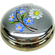 Antique sterling silver & enamel pill box with Daisy & Forget-me-not flowers