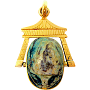 Antique 18k gold & engraved Egyptian pottery scarab flip fob pendant