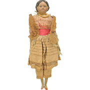 """Antique 12"""" paper papier mache doll with covered wagon hair"""