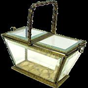 Antique bronze & glass vitrine casket dresser box in shape of picnic basket