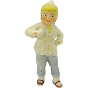 2.5 inch tall snowed German bisque boy Christmas cake decoration