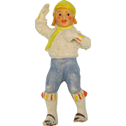 German snowed bisque Winter boy cake decoration won't stand