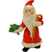 "4"" tall Antique German bisque Santa cake decoration ornament Santa with cane"