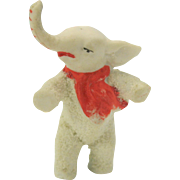 Vintage snowed bisque snow baby toy elephant with red scarf rare